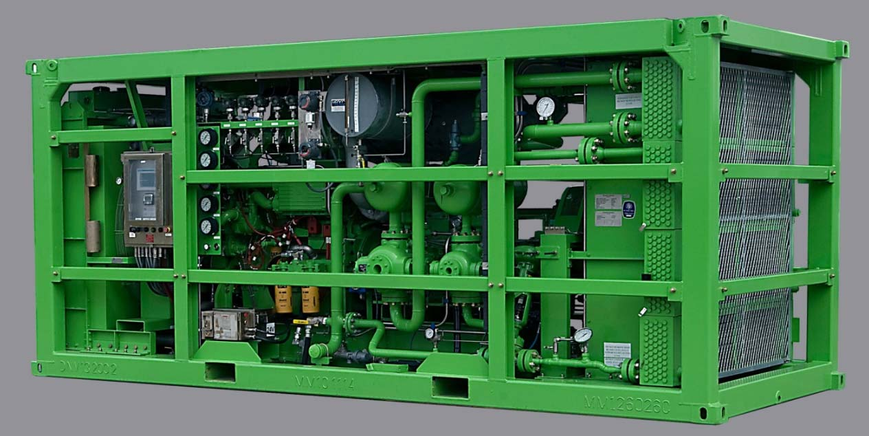 Oil-Flooded High Pressure Booster Compressor packaged in DNV 2.7-1 Offshore frame, Non-Hazardous Area
